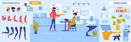 Romantic Atmosphere in Office People Creation Kit. Man Woman Coworker Fall in Love. Arm, Leg, Head, Emotion Set. Work Interior Room Design, Guy Character Bundle Constructor. Vector Illustration 向量圖像
