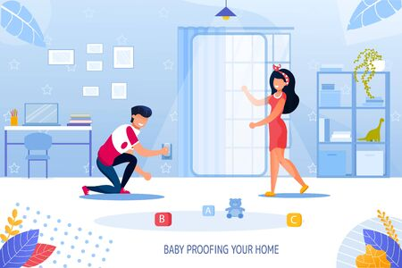 Parent Engaged in House Renovation for Child Safety. Father Mother Securing Room for Kid Checking Window Covering Dangerous Electrical Outlet. Baby Proofing Your Home Lettering. Vector Illustration Stockfoto - 145305759