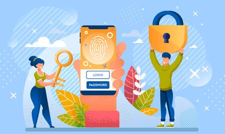 Password and Fingerprint Access to Mobile Data. Innovative Data Protection Privacy Security. Human Hand Hold Smartphone with Finger Mark Reader and Identification Field. Woman Take Key Man Carry Lock