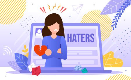 Online Hatters Victim, Internet Bulling, Hate and Aggression in Social Network Concept. Worried, Stresses Woman Character Filling Offended Because of Criticism Online Trendy Flat Vector Illustration Vettoriali