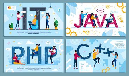 IT Programming Language, Program Code and Software Web Development. Programmer, Designer IT-Specialist, Developer Engaged in Technology Process Advertising Poster Set. Vector Illustration
