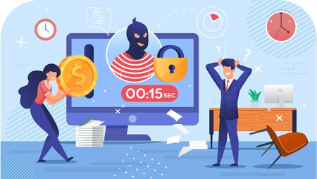 Cyber Attack Crime. Cryptocurrency Stealing Riskiness. Mining Virus. Hacker Burglar Avatar on Computer Monitor, Countdown Timer, Closed Lock. Woman and Businessman Trader in Despair. Security Hacking