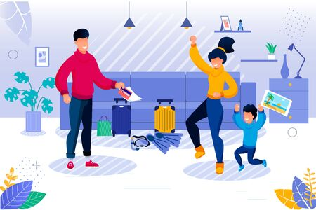 Parent and Kid Going for Travel. Happy Mother and Son Rejoicing. Father Getting Ticket. Tropical Resort Tour Preparation. Living Room Interior with Baggage and Diving Equipment Vector Illustration