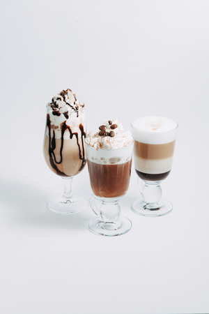 the cappuccino and latte on a white background