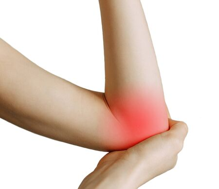 Elbow injury and fatigue at work. Damage zone, image on an empty background. Spasm on the girl's arm.