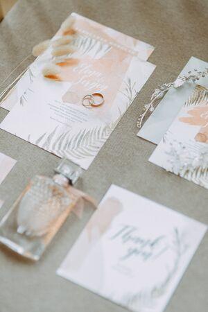 Stylish wedding ceremony details. Printing and wedding invitations.