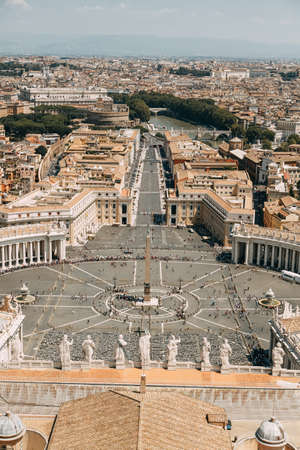 Vatican city, St. Peter's square. The view from the top and inside. Ancient architecture of Rome and the sights. Sculptures and Frescoes of great artists. Vatican Museum inside. Panoramic view from the roof