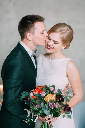 the European-style wedding, a handsome couple in a photo Studio, bride's morning