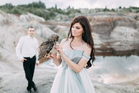 mystical wedding with owls and unusual place Standard-Bild