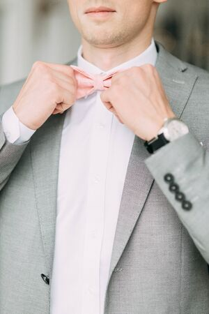 Stylish modern groom before the wedding. Portrait of a man in a suit. Foto de archivo - 150077885