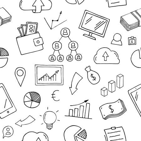 Business and Finance Seamless. Outline hand drawn Icon Pattern doodle.