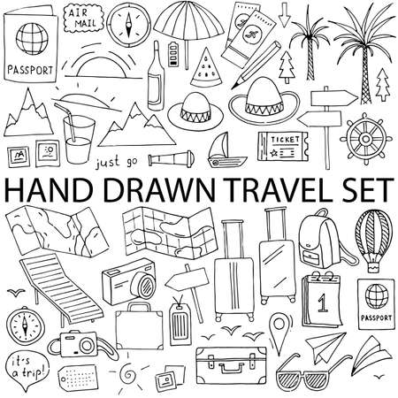 Hand drawn vector illustration set of travel, tourism and summer doodles elements. Isolated on white background.