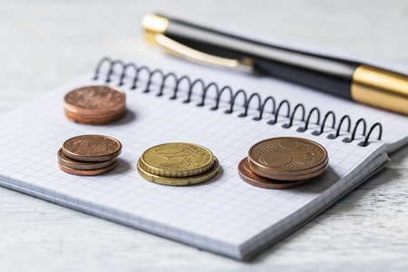 Business, finance or investment concept. Coins, checkbook or notebook and fountain pen. White wooden background. The concept of prudent family spending and savings for retirement age