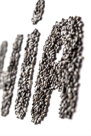 Chia seeds in the shape of the cropped word CHIA. Isolate on white background Stock Photo