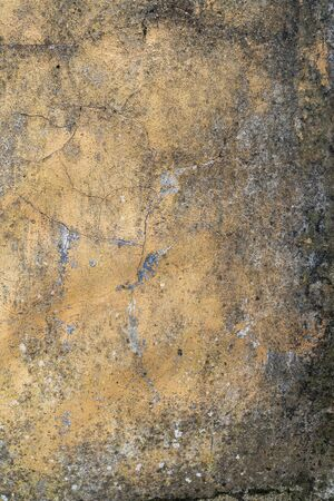 Old cementy moldy wall with peeling and cracks. Abstract background. Vertical view
