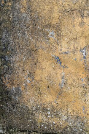 Old plastered moldy wall with peeling and cracks. Abstract background. Vertical view