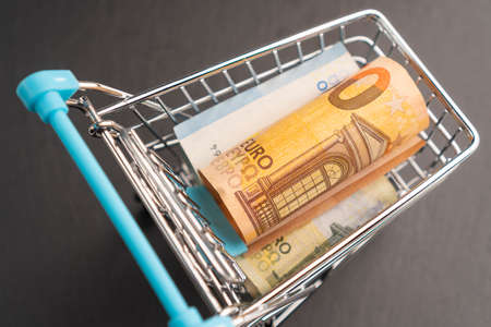 Banknotes euro in mini shopping trolley. Shopping cart concept or business.