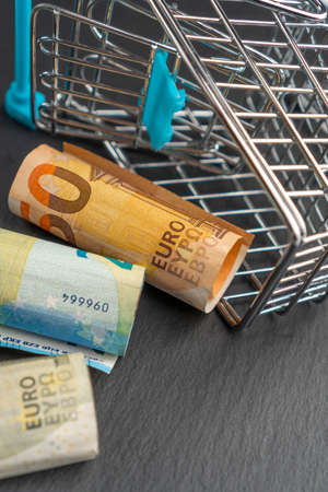 Rolled euro money in a supermarket shopping cart on a dark background. Online shopping concept. Standard-Bild