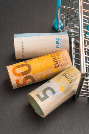 Shopping cart with euro banknotes on a dark background. Finance concept Standard-Bild