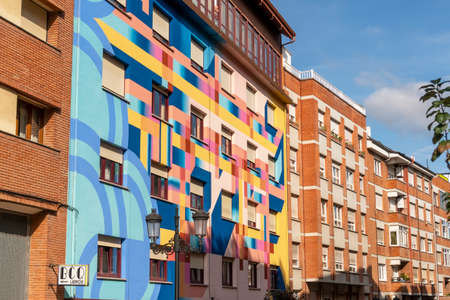 Oviedo, Spain, Asturias - August 2020: Picturesque bright renovated building on the street of Oviedo in Spain