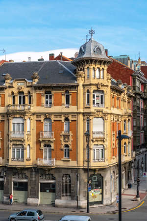 Oviedo, Spain, Asturias - August 2020: View of an old historic building on the main street of Oviedo
