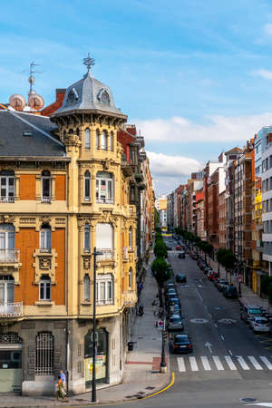 Oviedo, Spain, Asturias - August 2020: Beautiful street and architecture of ancient buildings of the old town in Oviedo