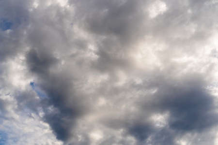 Dramatic sky with clouds close up. Overcast weather