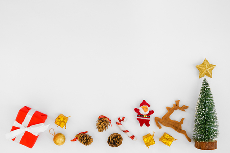 Christmas composition. Christmas gift boxes and decorations on white background. Crative flat lay , top view