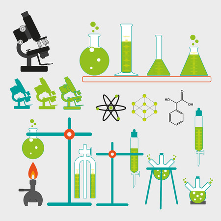 chemical laboratory: equipment of retro chemical laboratory Illustration