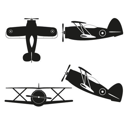 fighter pilot: vector illustration of vintage biplane silhouette