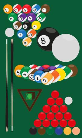 billard: vector illustration billard and snooker balls