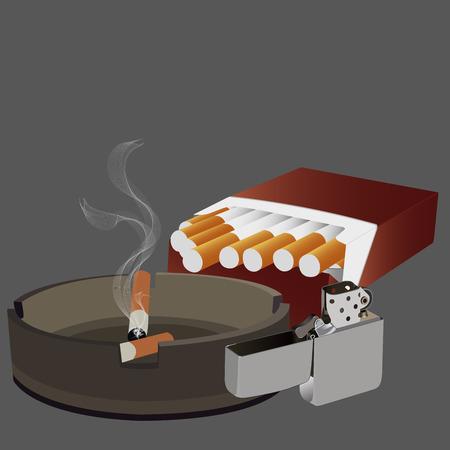 ashtray: cigarettes pack full open, ashtray and lighter vector illustration