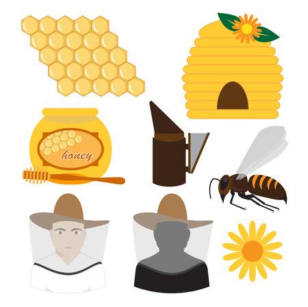 beekeeping: beekeeping set vector illustration