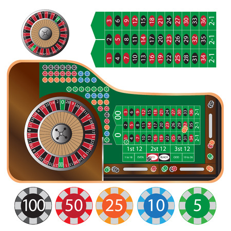 roulette layout: vector illustration of american roulette table and tokens Illustration