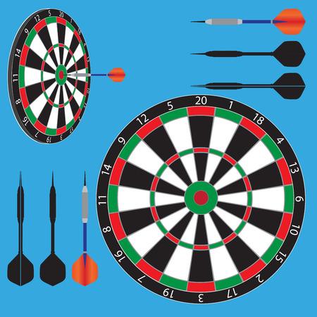 vector illustratie van dartbord en darts.
