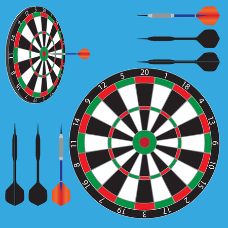 vector illustration of dart board and darts.
