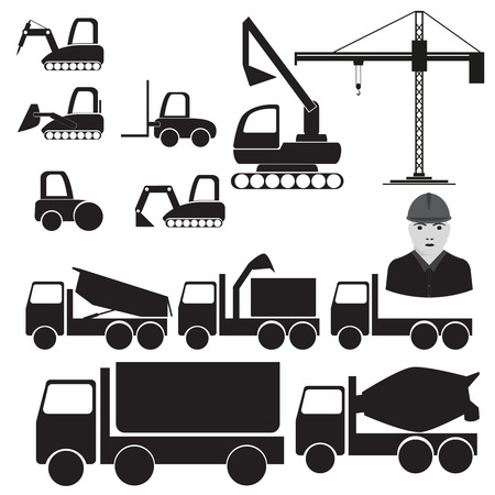 car loader: vector format. illustrations of constructions machinery silhouettes