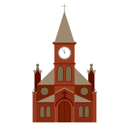 vector church building, christian religion icon
