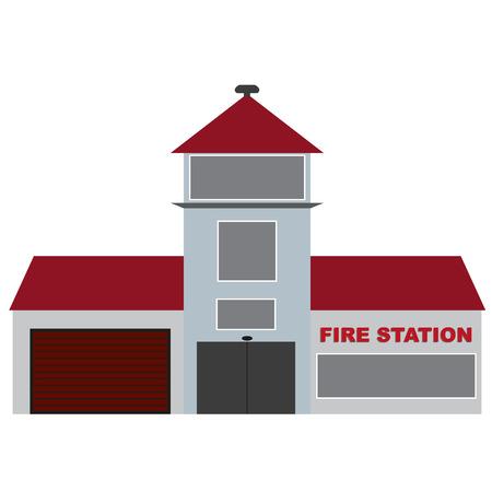 voiture de pompiers: vecteur bâtiment de la gare d'incendie