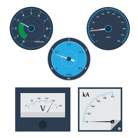 ammeter: vector illustration of analog gauges. Circular Meter set.