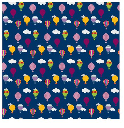 vector seamless pattern with hot air balloons on blue background with   white clouds Vector