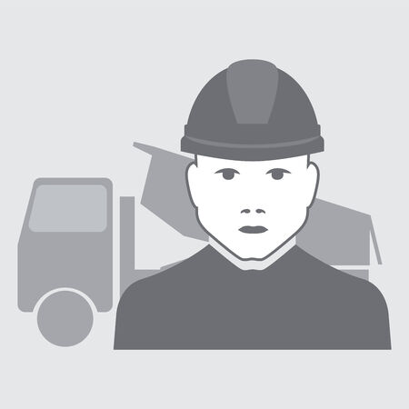 truck driver: illustration of truck driver with truck behind