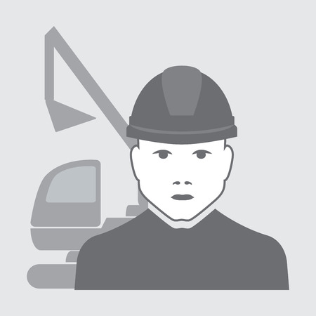 vector illustration of excavator operator with digger behind Vector
