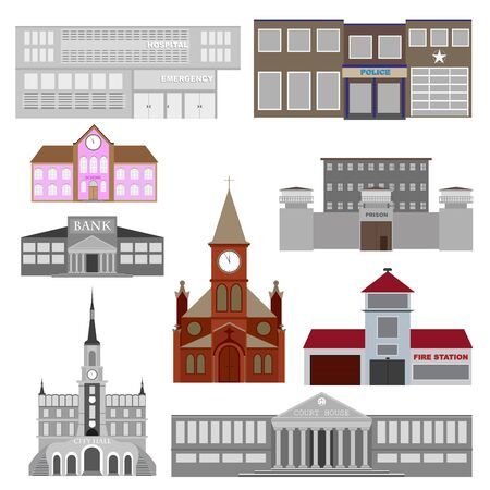 vector illustration of social buildings. set of 9 elements