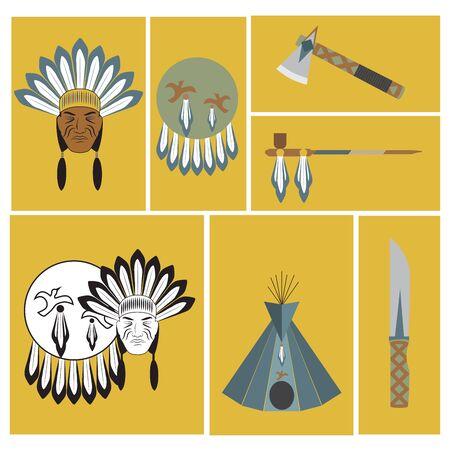 tipi: vector illustration of american indians ethnic elements. Illustration