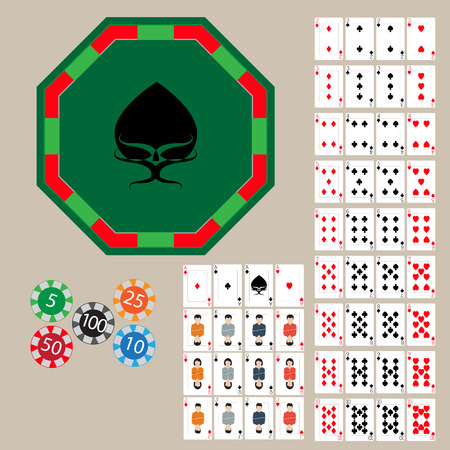 poker chips: poker table, tokens, and set of playing cards Illustration