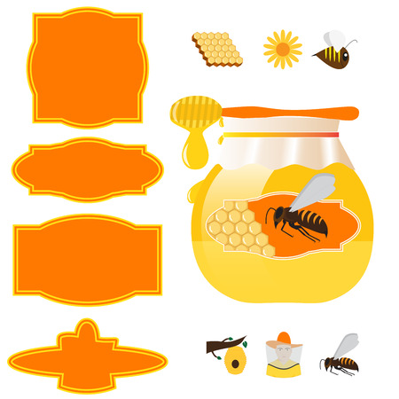 vector honey jar, labels and design elements for beekeeping industry Vector