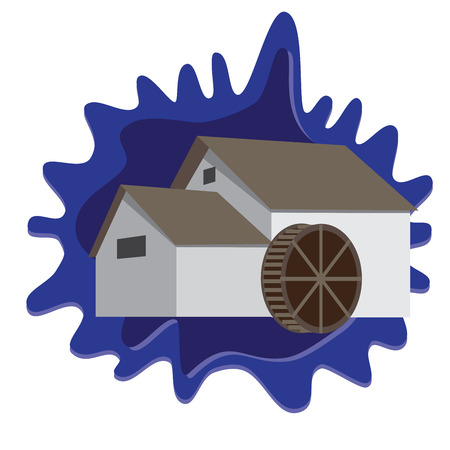 watermill: water mill on blue splash background
