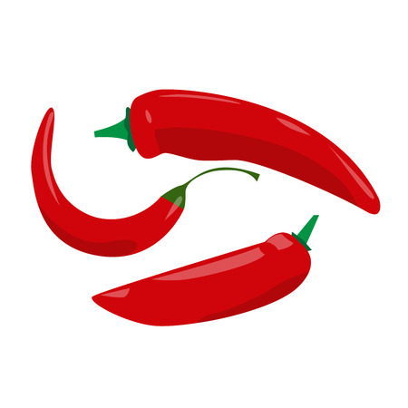 peppers: vector illustration of red chili peppers on white background Illustration