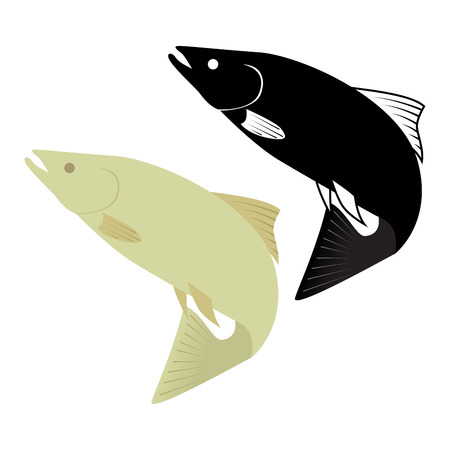 two fish icon on white background. vector format illustration. Vector